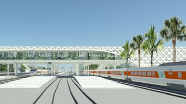 Vue d'artiste de la future gare TGV de Kenitra, au Maroc