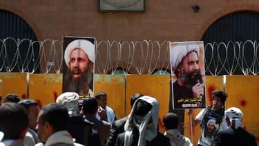 Une manifestation de soutien à Nimr Baqer al-Nimr, alors condamné à mort, le 18 octobre 2014 à Sanaa, au Yémen.