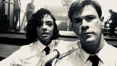 """Tessa Thompson et Chris Hemsworth sur le tournage du spin-off de """"Men In Black"""""""