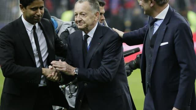 Jean-Michel Aulas entre Nasser Al-Khelaïfi et Frédéric Thiriez