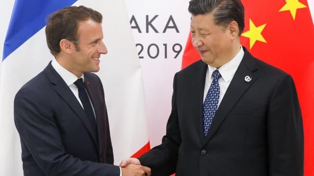 Emmanuel Macron et Xi Jinping lors d'un meeting bilatéral au sommet du G20 à Osaka, le 29 juin 2019