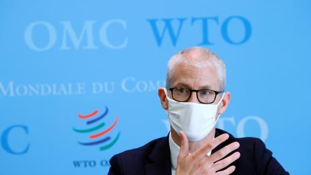 Le ministre chargé du commerce extérieur Franck Riester, au siège de l'Organisation mondiale du commerce (OMC) à Genève, le 1er avril 2021
