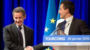 Nicolas Sarkozy et Gérald Darmanin lors d'un meeting commun en janvier 2015 à Tourcoing
