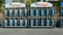 Distributeur de gaz butane et propane en bouteilles, Butagaz se lance dans la fourniture de gaz naturel et d'électricité. (image d'illustration)