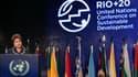 La présidente brésilienne Dilma Rousseff lors de la cérémonie de clôture du sommet de Rio+20. Près de 100 chefs d'Etat et de gouvernement ont participé pendant trois jours à la Conférence des Nations unies sur le développement durable, qui n'a pas permis