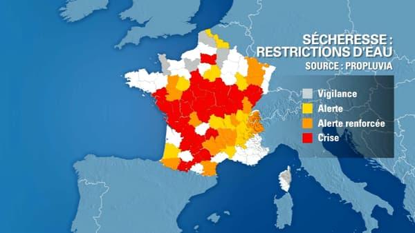Des restrictions d'eau sont mises en place dans plusieurs départements.