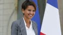 Najat Vallaud-Belkacem à la sortie de l'Elysée après le conseil des ministres, le 20 août 2014.