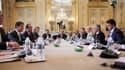 Les dirigeants européens de gauche au travail, lors d'une réunion à l'Elysée, le samedi 21 juin.