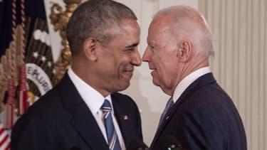 Barack Obama et Joe Biden en janvier 2017 à la Maison Blanche