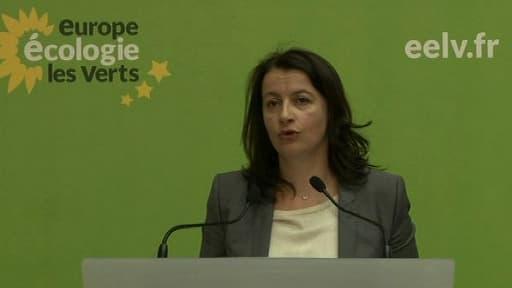 Cécile Duflot au conseil fédéral d'Europe-Ecologie-Les Verts (EELV) samedi à Paris.