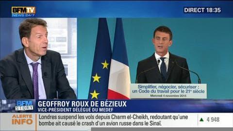 """Code du travail: """"Si on veut tout réformer, il faut tout mettre sur la table"""", Geoffroy Roux de Bézieux"""