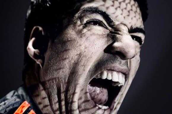 La publicité Adidas représentait Luis Suarez rugissant comme un lion.