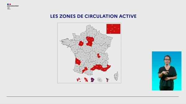 Les 21 départements classés en zone de circulation active du virus, le 27 août 2020.