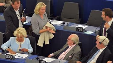 Les eurodéputés FN les plus médiatiques, lors d'un session du Parlement européen à Strasbourg, en septembre 2014.