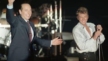 Jacques Chirac et Johnny Hallyday en 1988