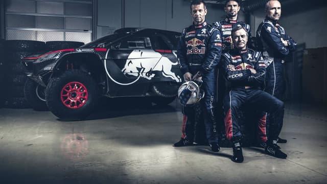 De gauche à droite : Loeb, Desprès, Sainz et Peterhansel