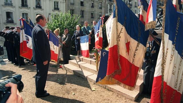 Le président français Jacques Chirac le 16 juillet 1995, lors des cérémonies commémoratives de la rafle du Vel d'Hiv