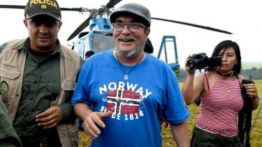 """Le chef des FARCRodrigo Londono alias """"Timochenko"""" à son arrivée à Mesetas le 26 juin 2017"""