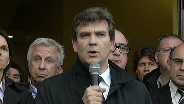 Arnaud Montebourg s'est exprimé devant les salariés de Florange, ce jeudi, à l'issue d'une réunion avec les organisations syndicales.