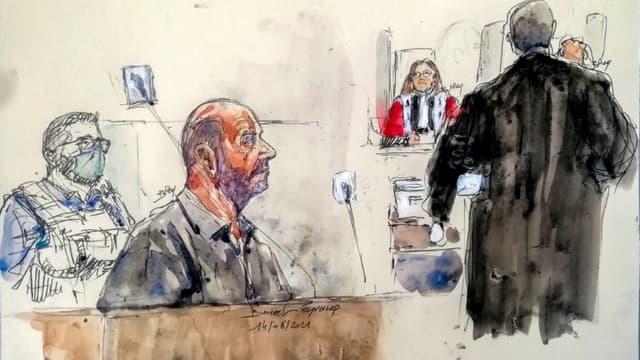 Croquis d'audience montrant Willy Bardon (ée à g) dans le box des accusés devant la cour d'assises d'appel de Douai, le 14 juin 2021