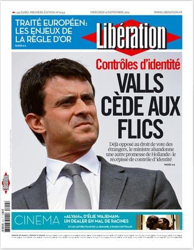 La une de Libération ce mercredi