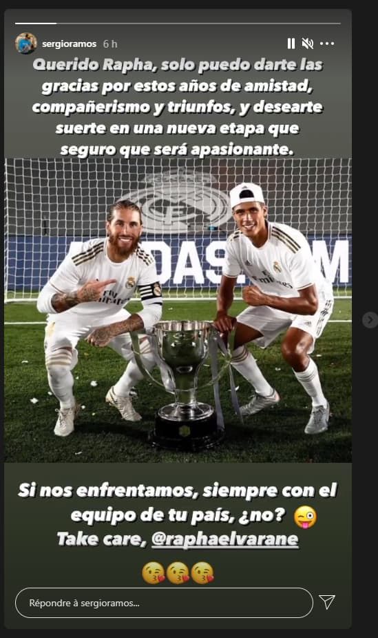 Sergio Ramos rend un bel hommage à Raphael Varane