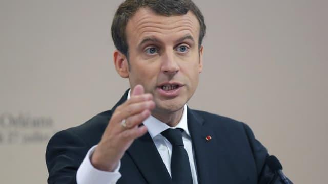Emmanuel Macron lors d'un discours à Orléans en juillet 2017 (image d'illustration)