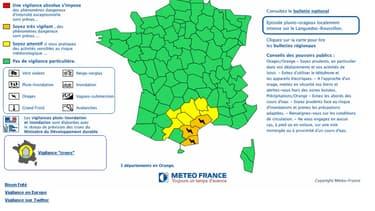 L'Aude, l'Hérault et les Pyrénées-Orientales sont en vigilance orange.