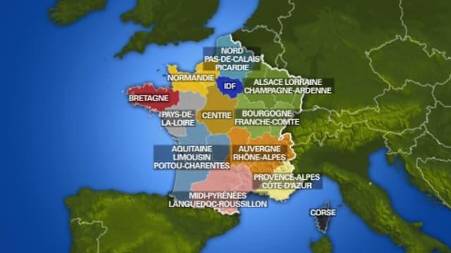 La carte des régions votée par le Sénat comprend 15 régions, au lieu de 13 comme l'a voté l'Assemblée.
