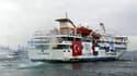 Le Mavi Marmara, l'un des six navires de la flottille en route pour Gaza qui a été prise d'assaut par les forces israéliennes la semaine dernière. Après avoir repoussé dimanche une proposition du secrétaire général des Nations unies, Ban Ki-moon, de créer