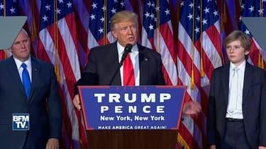 Donald Trump lors de son premier discours, le 9 novembre 2016