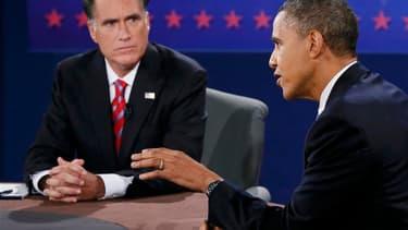 Mitt Romney et Barack Obama lors du 3e et dernier débat de la présidentielle 2012.