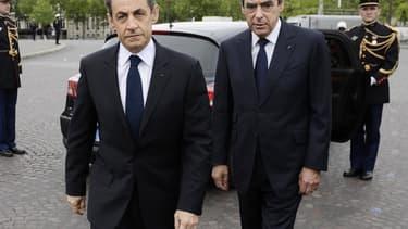 Nicolas Sarkozy et François Fillon lors d'un déplacement commun en 2012