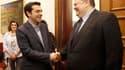 Evangelos Venizelos chef de file du Pasok, le parti socialiste grec (à droite), avec Alexis Tsipras, chef de la Coalition de la gauche radicale (Syriza), qui avait terminé deuxième des législatives du 6 mai. Evangelos Venizelos, troisième et dernier dirig