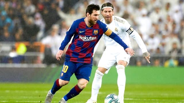Lionel Messi et Sergio Ramos, à Madrid le 1er mars 2020