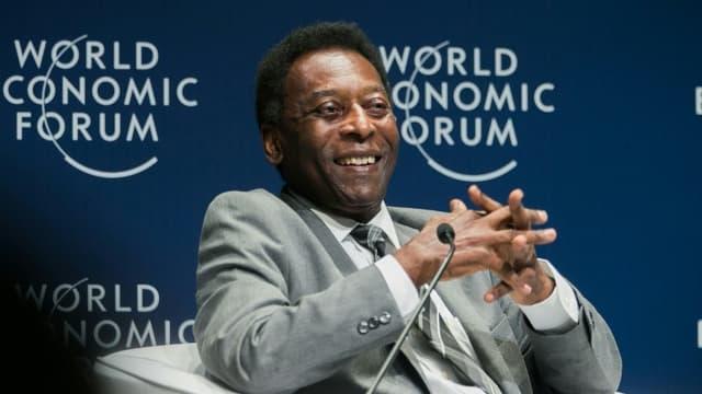 La légende du football brésilien Pelé invité au Forum économique mondial, le 14 mars 2018 à Sao Paulo