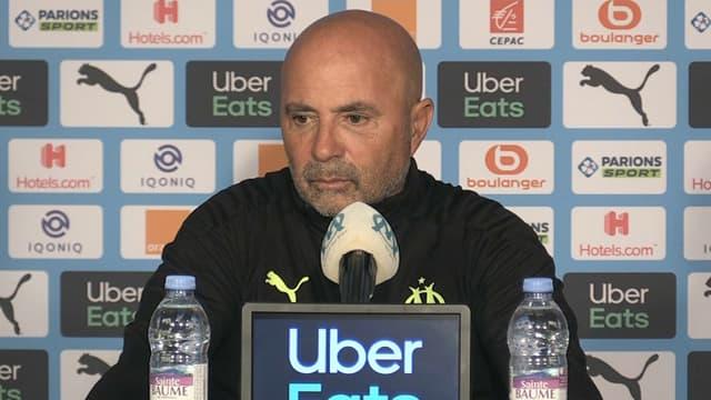 Jorge Sampaoli en conférence de presse, à Marseille le 15 avril 2021