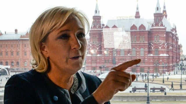 Marine Le Pen lors de son déplacement à Moscou.