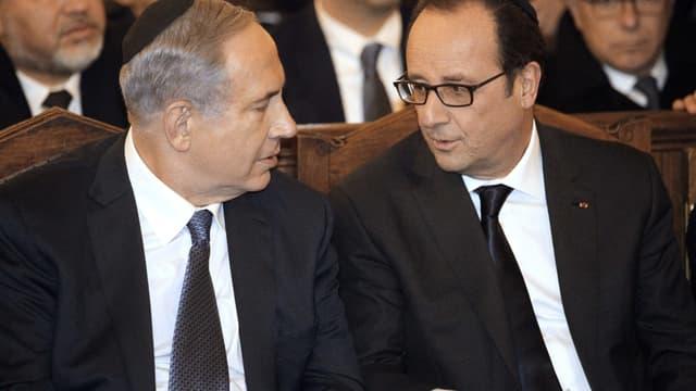 Benjamin Netanyahu et François Hollande dimanche soir à la Grande synagogue de Paris.