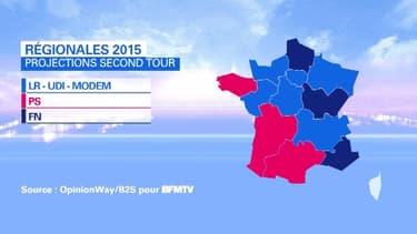 Une carte possible de la France au second tour malgré un grand nombre de régions où l'issue est très incertaine en raison de la volatilité du report de voix