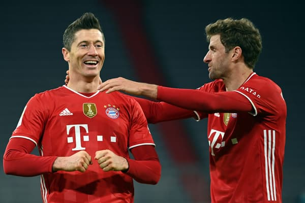 Robert Lewandowski et Thomas Muller sous le maillot du Bayern Munich