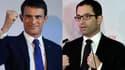Manuel Valls et Benoît Hamon dimanche soir après les résultats du premier tour de la primaire à gauche.