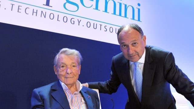 Avec Capgemini, Serge Kampf (à gauche) a bâti un empire des services informatiques qu'il a transmis à Paul Hermelin (à droite).