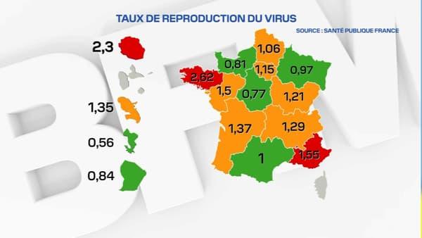 Le taux de reproduction du coronavirus en France au 14 juillet 2020.