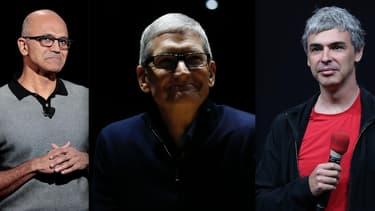 Satya Nadelle, CEO de Microsoft, Tim Cook, CEO d'Apple et Larry Page, CEO de Google.