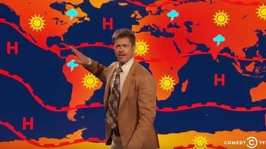 Bratt Pitt en monsieur météo, dans un sketch du late show de Jim Jefferies.