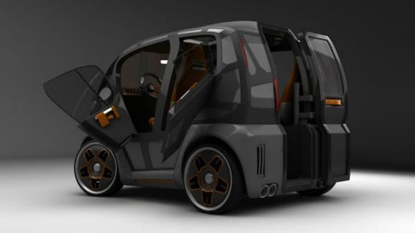 Des portes battantes uniques à l'arrière pour accéder au véhicule, une solution pour réduire au maximum l'encombrement sur la voirie.