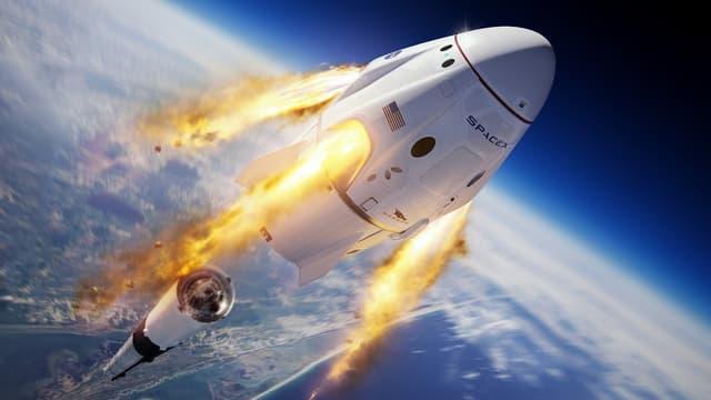 Après le décollage, à une altitude d'environ 19 kilomètres au-dessus de l'Atlantique, simulant une anomalie, une séquence d'abandon est déclenchée: la capsule allumera ses puissants propulseurs SuperDraco pour s'éjecter de la fusée
