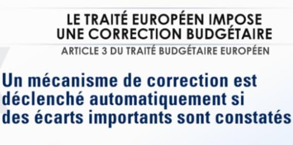 """1/ Le texte européen est très clair. La partie e) de l'article 3 exige une """"correction automatique"""" en cas de dérapage des finances publiques."""