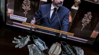 Le Premier ministre Édouard Philippe prononçant son allocution du 28 avril 2020 à l'Assemblée nationale
